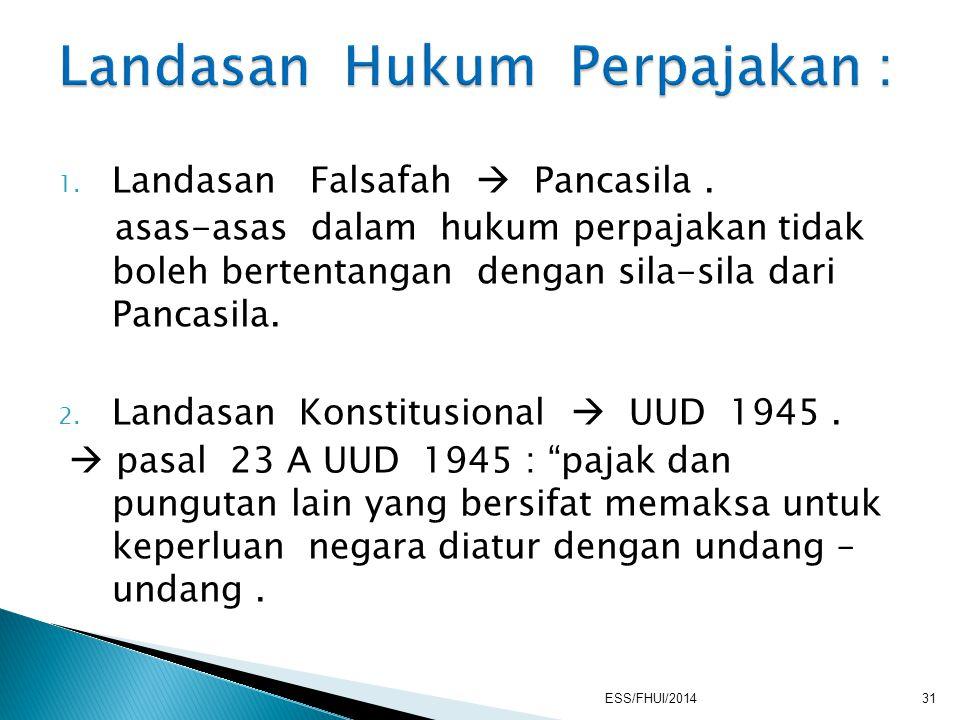 1. Landasan Falsafah  Pancasila. asas-asas dalam hukum perpajakan tidak boleh bertentangan dengan sila-sila dari Pancasila. 2. Landasan Konstitusiona