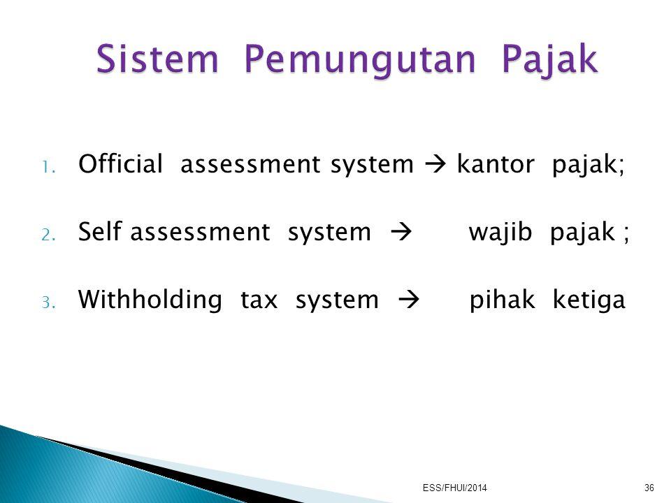 1. Official assessment system  kantor pajak; 2. Self assessment system  wajib pajak ; 3. Withholding tax system  pihak ketiga ESS/FHUI/201436