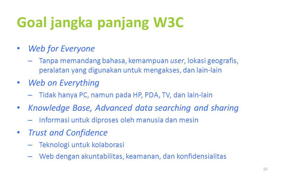 Goal jangka panjang W3C Web for Everyone – Tanpa memandang bahasa, kemampuan user, lokasi geografis, peralatan yang digunakan untuk mengakses, dan lain-lain Web on Everything – Tidak hanya PC, namun pada HP, PDA, TV, dan lain-lain Knowledge Base, Advanced data searching and sharing – Informasi untuk diproses oleh manusia dan mesin Trust and Confidence – Teknologi untuk kolaborasi – Web dengan akuntabilitas, keamanan, dan konfidensialitas 10