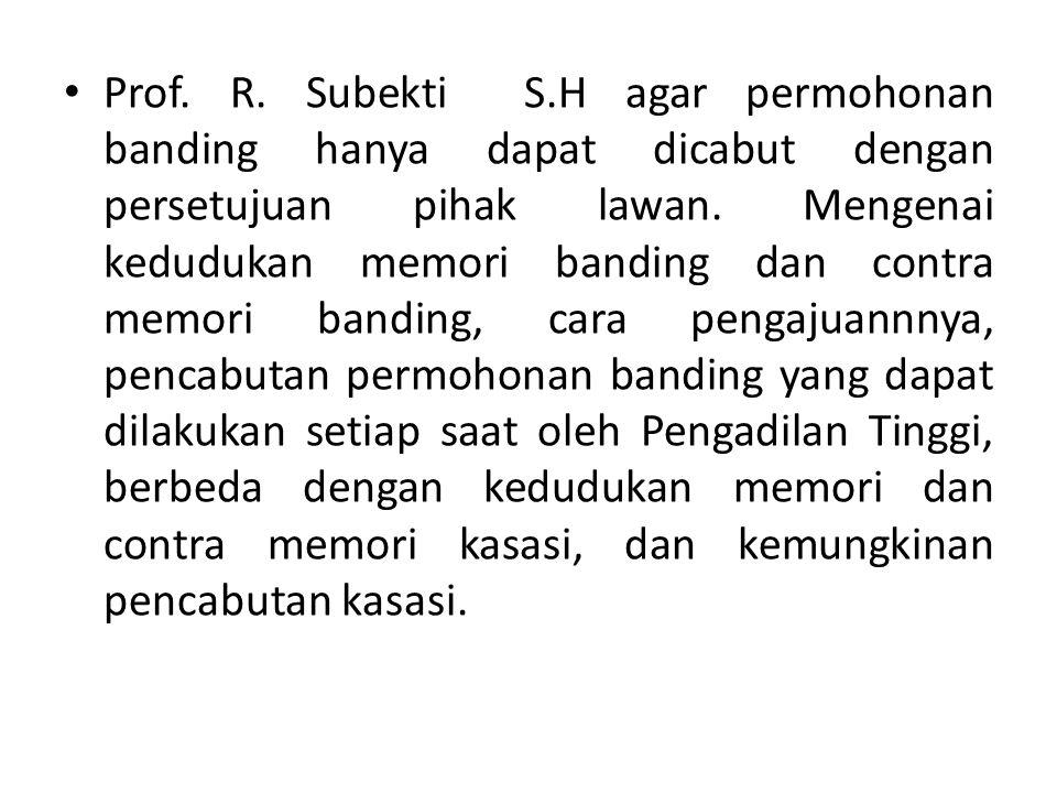 Prof. R. Subekti S.H agar permohonan banding hanya dapat dicabut dengan persetujuan pihak lawan. Mengenai kedudukan memori banding dan contra memori b