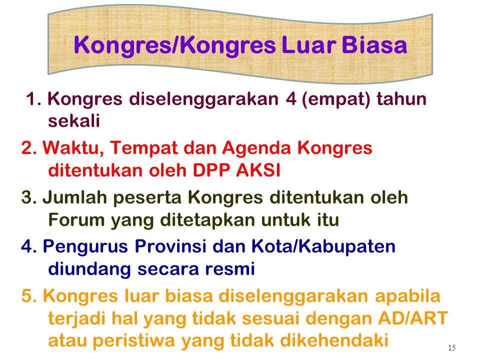 1. Kongres diselenggarakan 4 (empat) tahun sekali 2. Waktu, Tempat dan Agenda Kongres ditentukan oleh DPP AKSI 3. Jumlah peserta Kongres ditentukan ol