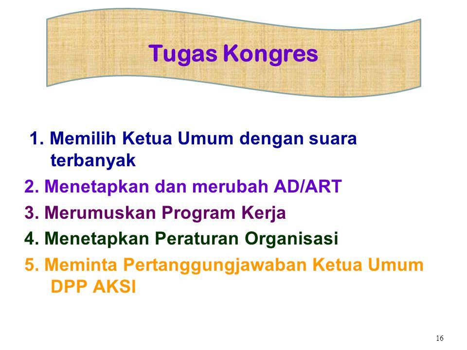 1. Memilih Ketua Umum dengan suara terbanyak 2. Menetapkan dan merubah AD/ART 3. Merumuskan Program Kerja 4. Menetapkan Peraturan Organisasi 5. Memint