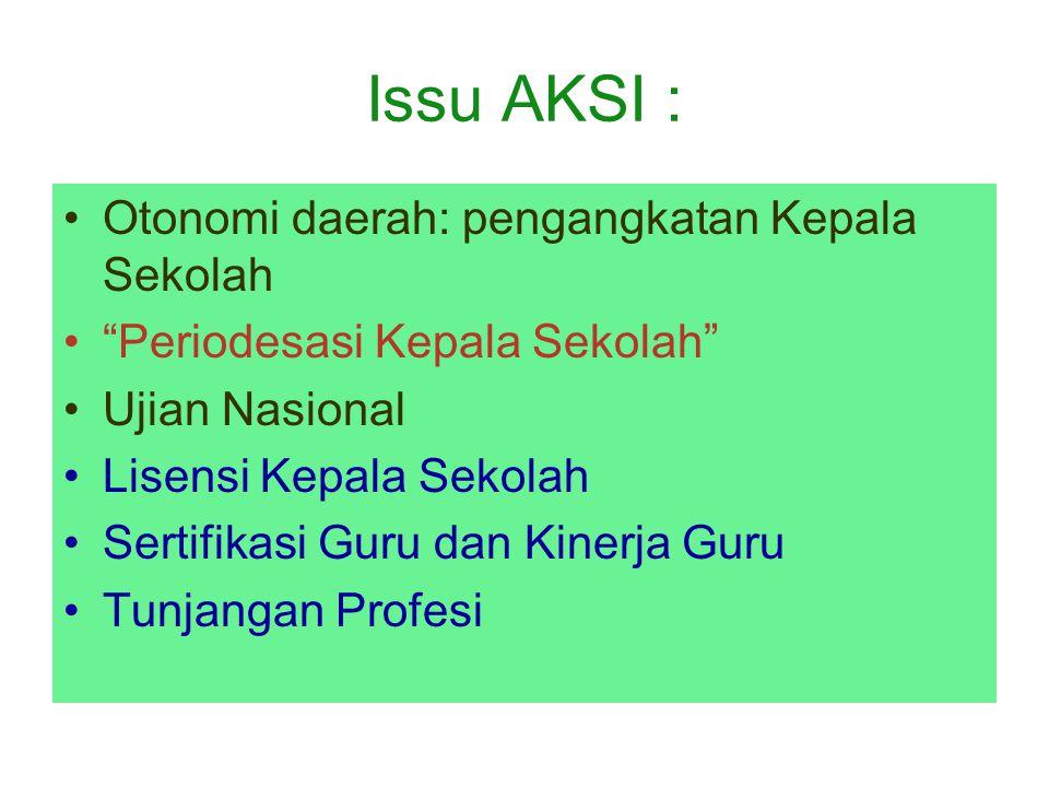 """Issu AKSI : Otonomi daerah: pengangkatan Kepala Sekolah """"Periodesasi Kepala Sekolah"""" Ujian Nasional Lisensi Kepala Sekolah Sertifikasi Guru dan Kinerj"""
