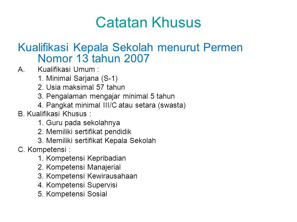 Catatan Khusus Kualifikasi Kepala Sekolah menurut Permen Nomor 13 tahun 2007 A.Kualifikasi Umum : 1. Minimal Sarjana (S-1) 2. Usia maksimal 57 tahun 3