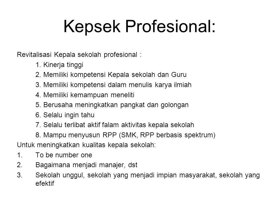 Kepsek Profesional: Revitalisasi Kepala sekolah profesional : 1. Kinerja tinggi 2. Memiliki kompetensi Kepala sekolah dan Guru 3. Memiliki kompetensi