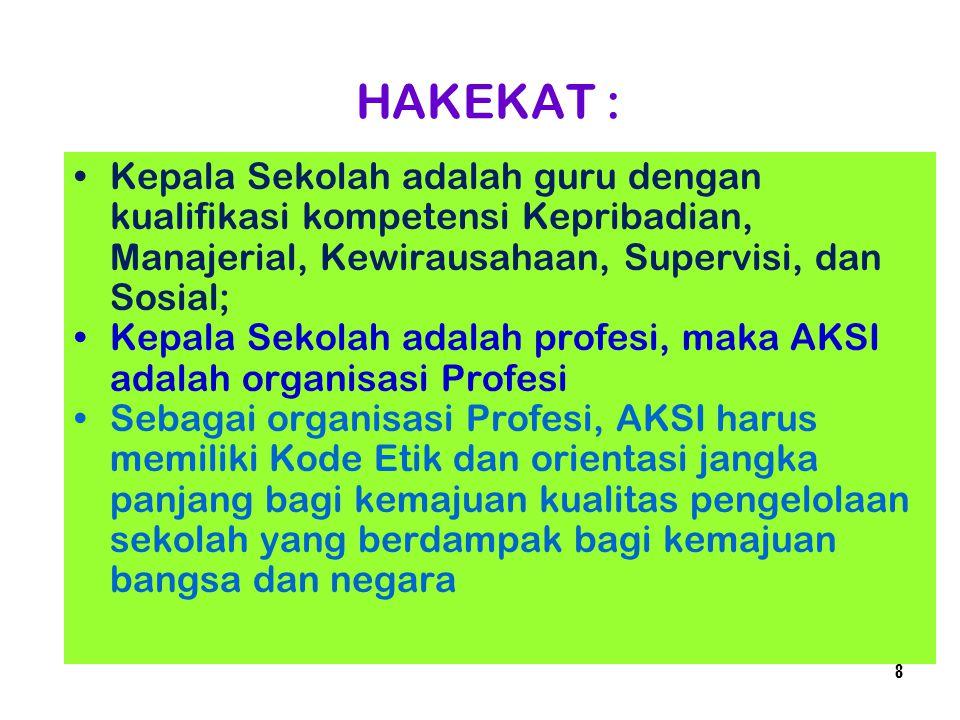 HAKEKAT : Kepala Sekolah adalah guru dengan kualifikasi kompetensi Kepribadian, Manajerial, Kewirausahaan, Supervisi, dan Sosial; Kepala Sekolah adala