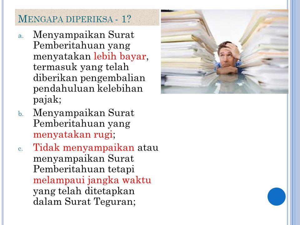 M ENGAPA DIPERIKSA - 1? a. Menyampaikan Surat Pemberitahuan yang menyatakan lebih bayar, termasuk yang telah diberikan pengembalian pendahuluan kelebi