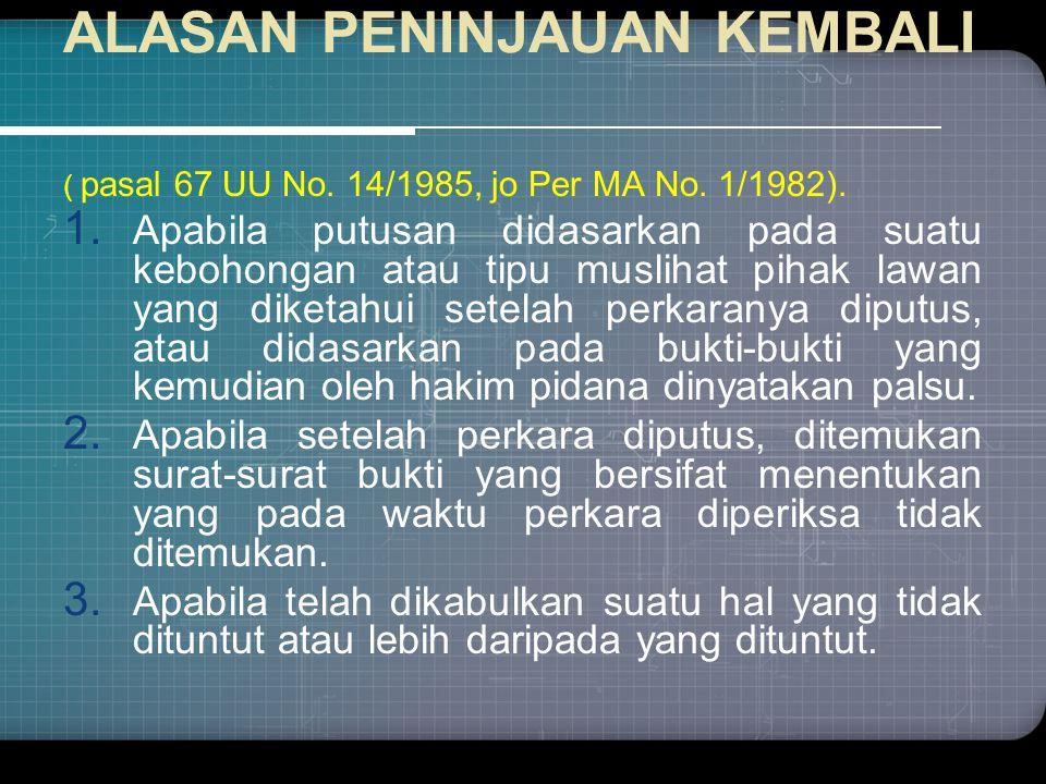 ALASAN PENINJAUAN KEMBALI ( pasal 67 UU No.14/1985, jo Per MA No.