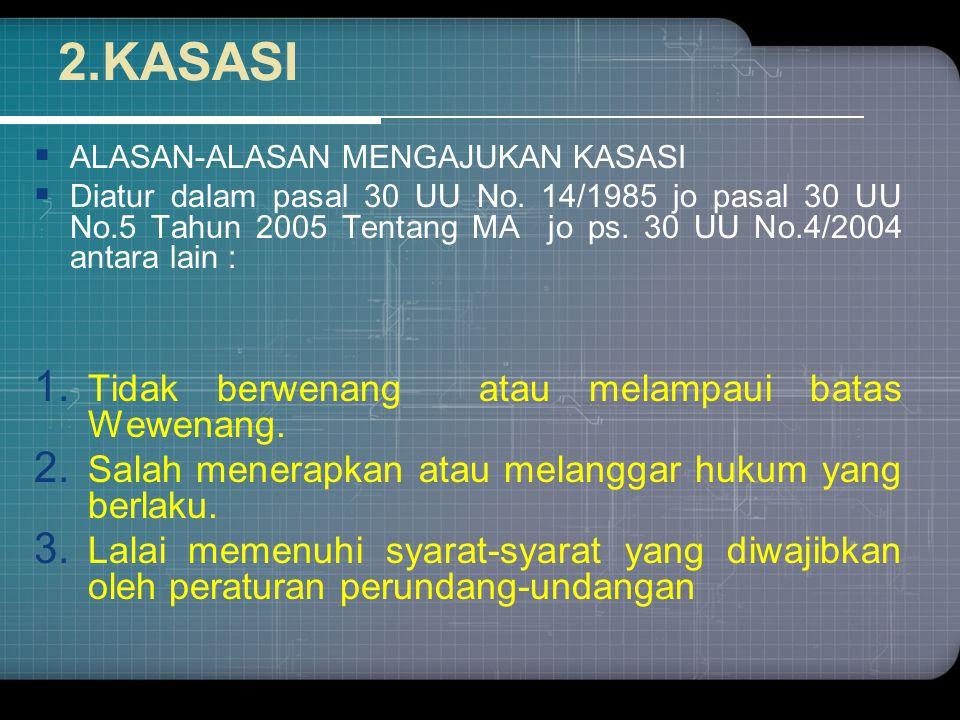 2.KASASI  ALASAN-ALASAN MENGAJUKAN KASASI  Diatur dalam pasal 30 UU No.