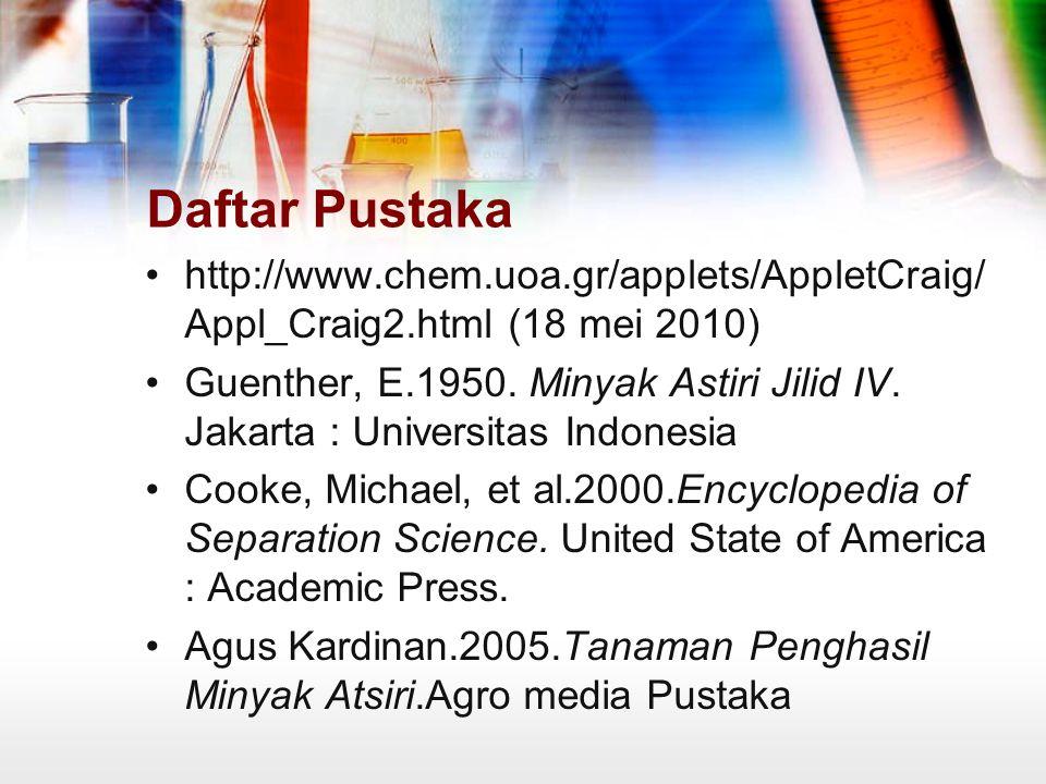 Daftar Pustaka http://www.chem.uoa.gr/applets/AppletCraig/ Appl_Craig2.html (18 mei 2010) Guenther, E.1950.