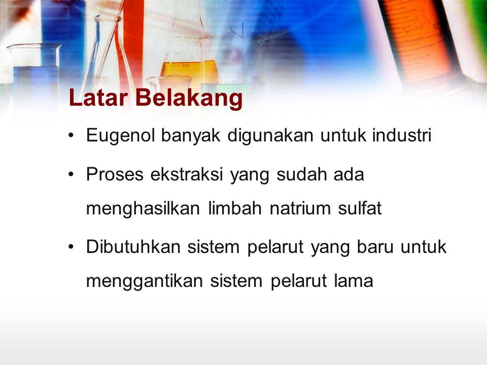 Latar Belakang Eugenol banyak digunakan untuk industri Proses ekstraksi yang sudah ada menghasilkan limbah natrium sulfat Dibutuhkan sistem pelarut ya