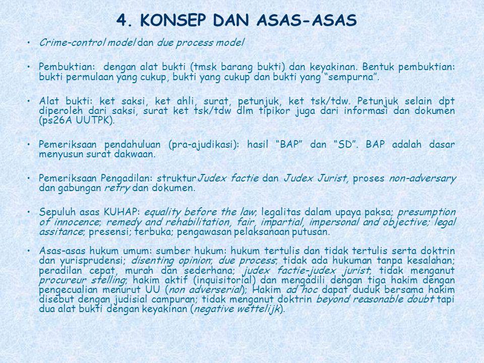 4. KONSEP DAN ASAS-ASAS Crime-control model dan due process model Pembuktian: dengan alat bukti (tmsk barang bukti) dan keyakinan. Bentuk pembuktian: