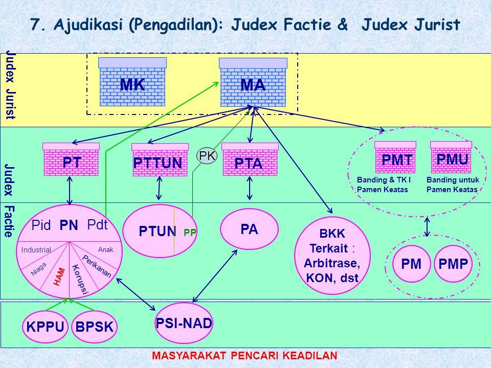 Judex Jurist MASYARAKAT PENCARI KEADILAN PN Industrial Niaga HAM Korupsi Anak Perikanan PMPMP 7. Ajudikasi (Pengadilan): Judex Factie & Judex Jurist B