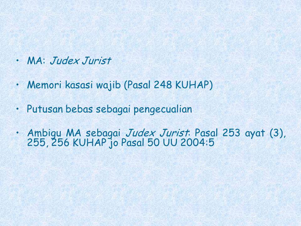 MA: Judex Jurist Memori kasasi wajib (Pasal 248 KUHAP) Putusan bebas sebagai pengecualian Ambigu MA sebagai Judex Jurist: Pasal 253 ayat (3), 255, 256