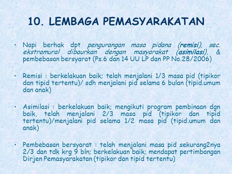 10. LEMBAGA PEMASYARAKATAN Napi berhak dpt pengurangan masa pidana (remisi), sec. ekstramural dibaurkan dengan masyarakat (asimilasi), & pembebasan be