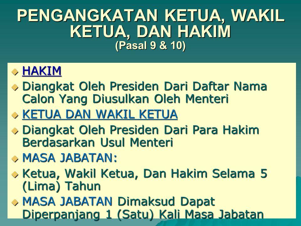 SYARAT-SYARAT MENJADI HAKIM Syarat khusus Pasal 13 ayat(1), bukan merupakan : 1.