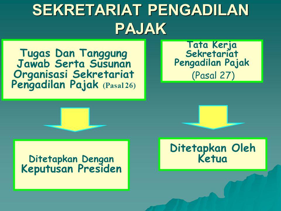 SUMPAH (Pasal 24) SEKRETARIS, WAKIL SEKRETARIS DAN SEKRETARIS PENGGANTI SEBELUM MEMANGKU JABATAN DIAMBIL SUMPAH/ JANJI OLEH KETUA Persyaratan Sekretaris, Wakil Sekretaris, Sekretaris Pengganti (Pasal 25) 1.Pegawai Departemen Keuangan RI 2.Mempunyai keahlian di bidang perpajakan 3.Sarjana Hukum atau sarjana lain