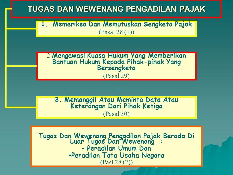 SEKRETARIAT PENGADILAN PAJAK Tugas Dan Tanggung Jawab Serta Susunan Organisasi Sekretariat Pengadilan Pajak (Pasal 26) Ditetapkan Dengan Keputusan Presiden Tata Kerja Sekretariat Pengadilan Pajak (Pasal 27) Ditetapkan Oleh Ketua