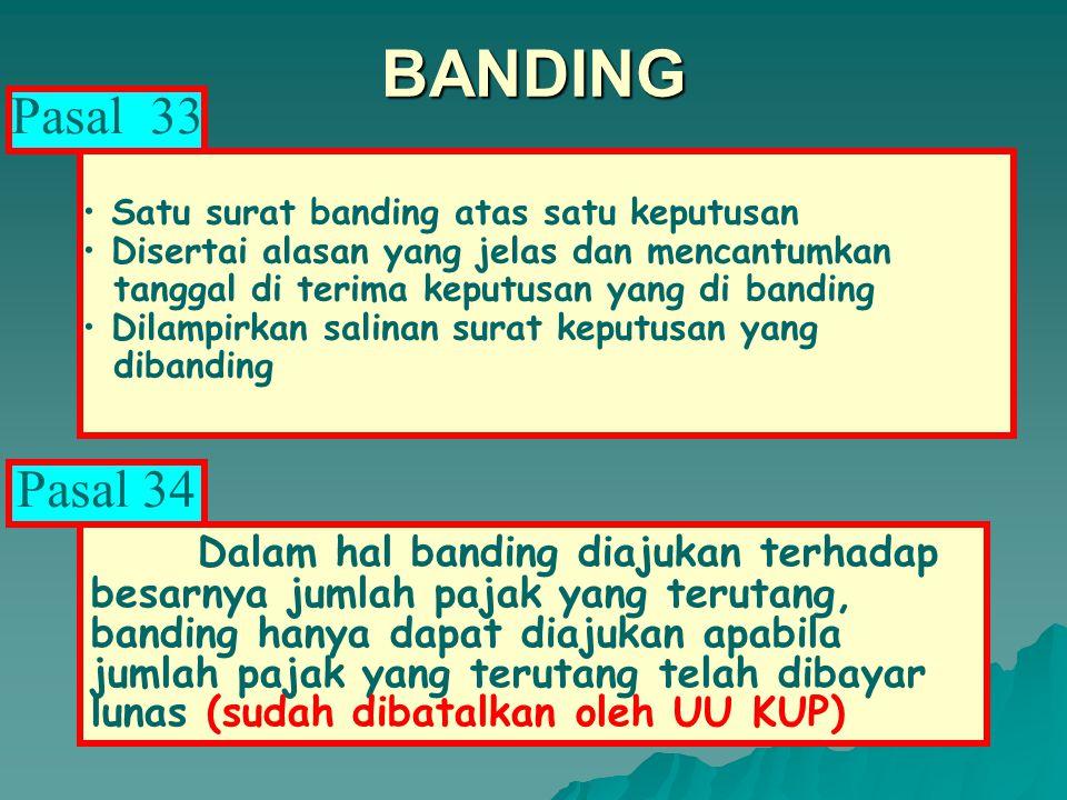 BANDING Diajukan dalam Bahasa Indonesia kepada PENGADILAN PAJAK yang daerah hukumnya meliputi wilayah kerja pejabat yang menerbitkan keputusan banding.