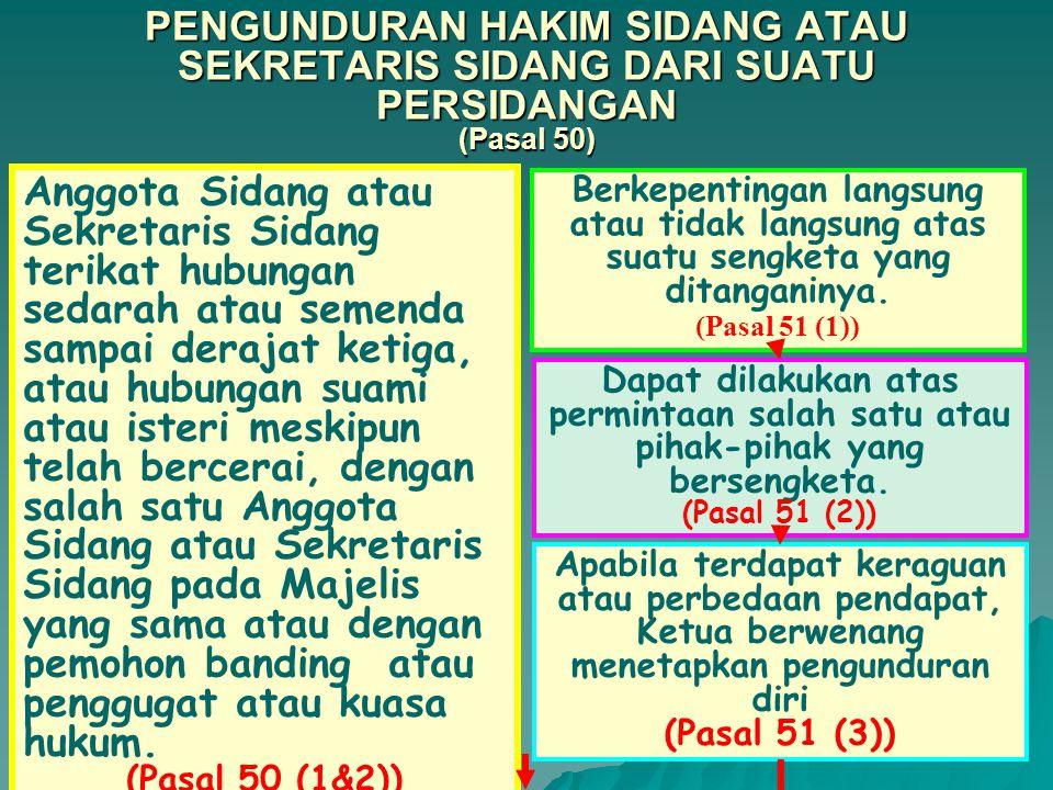 KETUA MEMBUKA SIDANG DAN MENYATAKAN TERTUTUP UNTUK UMUM; (Pasal 49 (2)) DILAKUKAN OLEH MAJELIS (Pasal 48) PEMERIKSAAN DENGAN ACARA BIASA APABILA BANDING ATAU GUGATAN TIDAK LENGKAP DAN/ATAU TIDAK JELAS SEPANJANG BUKAN KARENA :  BANDING DIAJUKAN TIDAK DALAM BAHASA INDONESIA (Ps 32(1)).