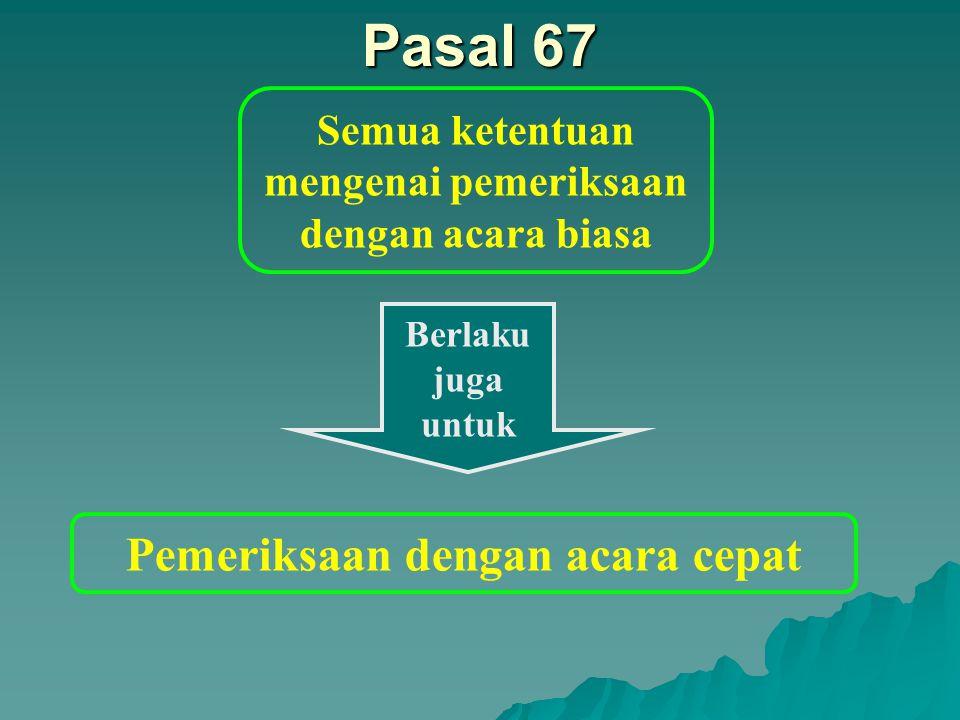 Pasal 66 Pemeriksaan dengan cara cepat terhadap sengketa pajak sebagaimana dimaksud dalam : Pasal 65 (1) huruf: c.