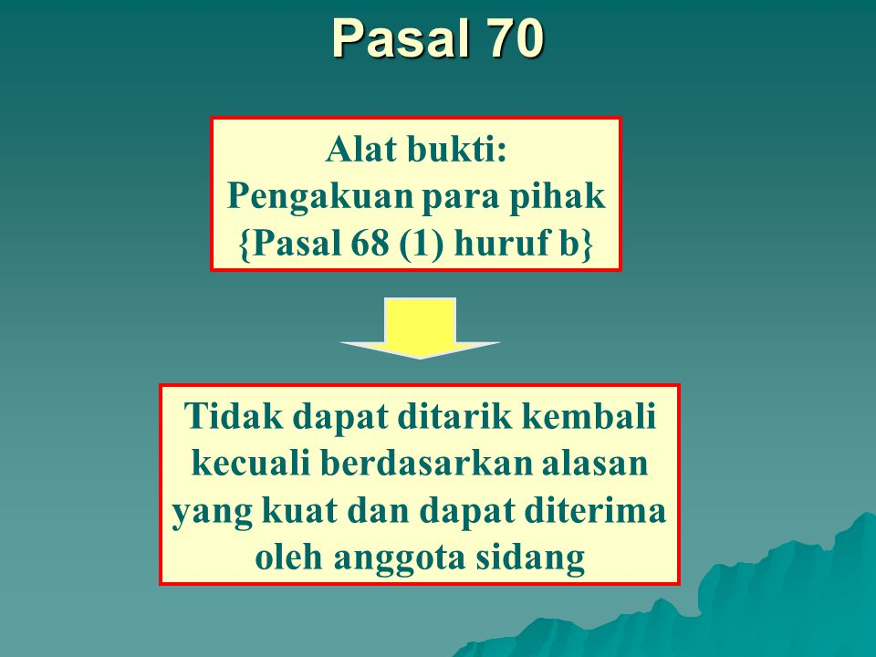 Alat bukti: Surat atau tulisan {Pasal 68 (1) huruf a} Pasal 68 A.