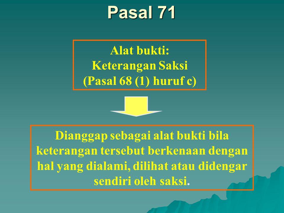 Pasal 70 Alat bukti: Pengakuan para pihak {Pasal 68 (1) huruf b} Tidak dapat ditarik kembali kecuali berdasarkan alasan yang kuat dan dapat diterima oleh anggota sidang
