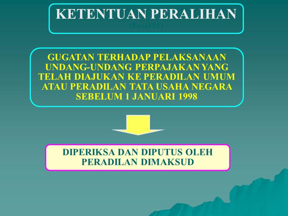 KETENTUAN PERALIHAN (Pasal 91) BANDING YANG DIAJUKAN KE MPP ATAU LEMBAGA BEA CUKAI SEBELUM TGL 1 JANUARI 1998 YANG BELUM DIPUTUS DIPERLAKUKAN SEBAGAI BANDING YANG DIAJUKAN KE PENGADILAN PAJAK HARUS DIPUTUS DALAM JANGKA WAKTU 36 BULAN SEJAK BERLAKUNYA UNDANG-UNDANG PENGADILAN PAJAK