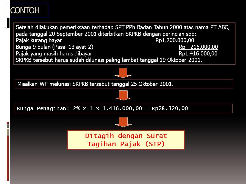 CONTOH Misalkan WP melunasi SKPKB tersebut tanggal 25 Oktober 2001.