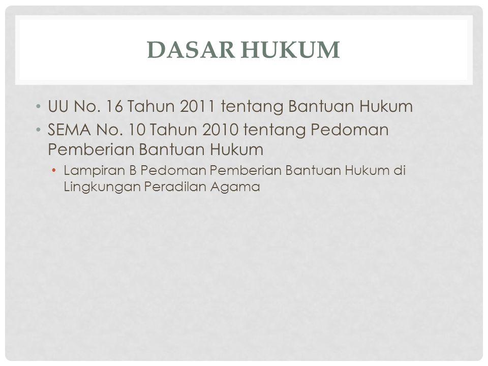DASAR HUKUM UU No. 16 Tahun 2011 tentang Bantuan Hukum SEMA No. 10 Tahun 2010 tentang Pedoman Pemberian Bantuan Hukum Lampiran B Pedoman Pemberian Ban