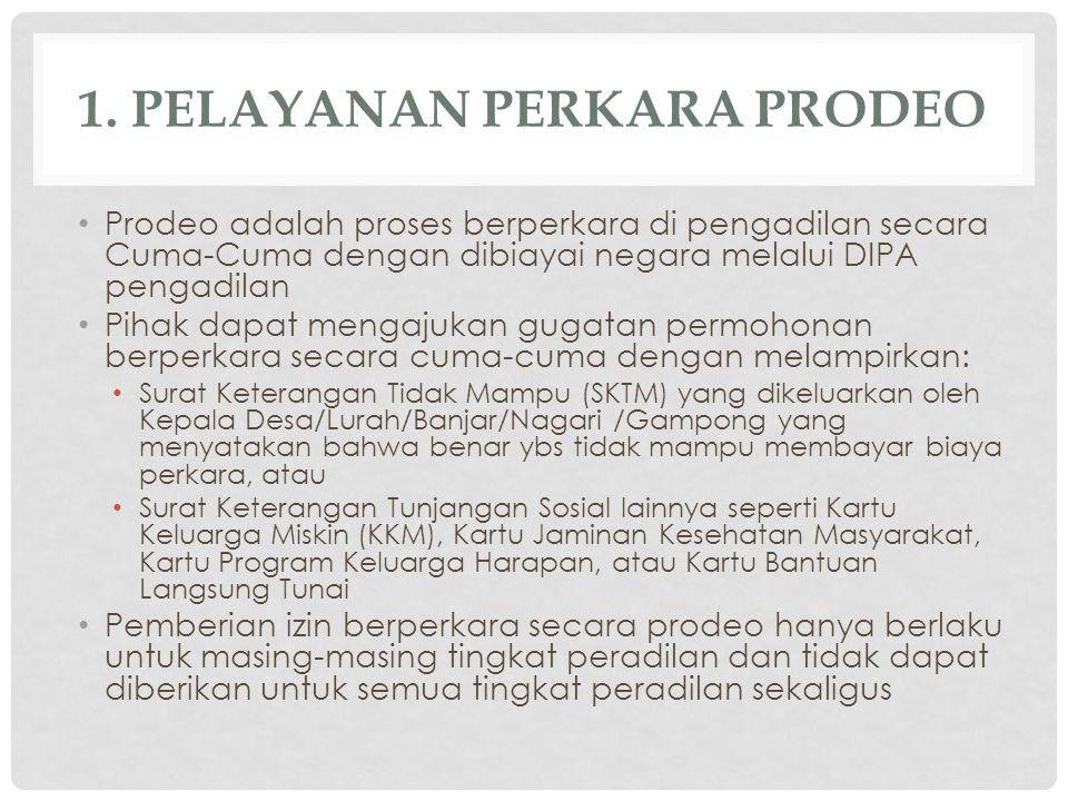 1. PELAYANAN PERKARA PRODEO Prodeo adalah proses berperkara di pengadilan secara Cuma-Cuma dengan dibiayai negara melalui DIPA pengadilan Pihak dapat