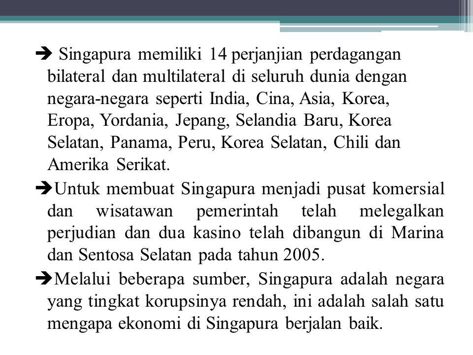  Singapura memiliki 14 perjanjian perdagangan bilateral dan multilateral di seluruh dunia dengan negara-negara seperti India, Cina, Asia, Korea, Eropa, Yordania, Jepang, Selandia Baru, Korea Selatan, Panama, Peru, Korea Selatan, Chili dan Amerika Serikat.