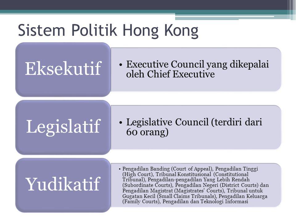 Sistem Politik Hong Kong Executive Council yang dikepalai oleh Chief Executive Eksekutif Legislative Council (terdiri dari 60 orang) Legislatif Pengadilan Banding (Court of Appeal), Pengadilan Tinggi (High Court), Tribunal Konstitusional (Constitutional Tribunal), Pengadilan-pengadilan Yang Lebih Rendah (Subordinate Courts), Pengadilan Negeri (District Courts) dan Pengadilan Magistrat (Magistrates' Courts), Tribunal untuk Gugatan Kecil (Small Claims Tribunals), Pengadilan Keluarga (Family Courts), Pengadilan dan Teknologi Informasi Yudikatif