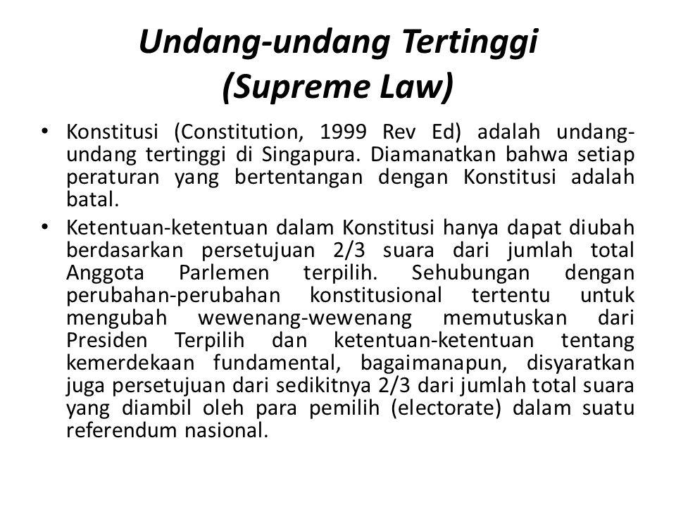 Undang-undang Tertinggi (Supreme Law) Konstitusi (Constitution, 1999 Rev Ed) adalah undang- undang tertinggi di Singapura.