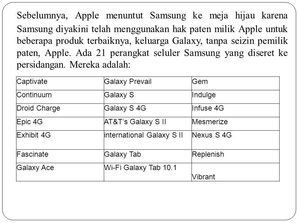 21 perangkat tersebut masuk dalam daftar tuntutan karena dianggap telah melanggar 7 hak paten yang dimiliki oleh pihak Apple.