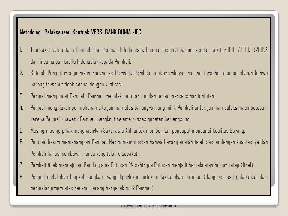 Metodologi Pelaksanaan Kontrak VERSI BANK DUNIA -IFC 1.Transaksi sah antara Pembeli dan Penjual di Indonesia. Penjual menjual barang senilai sekitar U