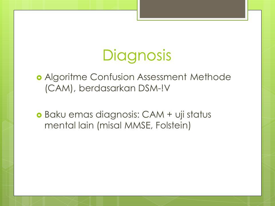 Diagnosis  Algoritme Confusion Assessment Methode (CAM), berdasarkan DSM-!V  Baku emas diagnosis: CAM + uji status mental lain (misal MMSE, Folstein