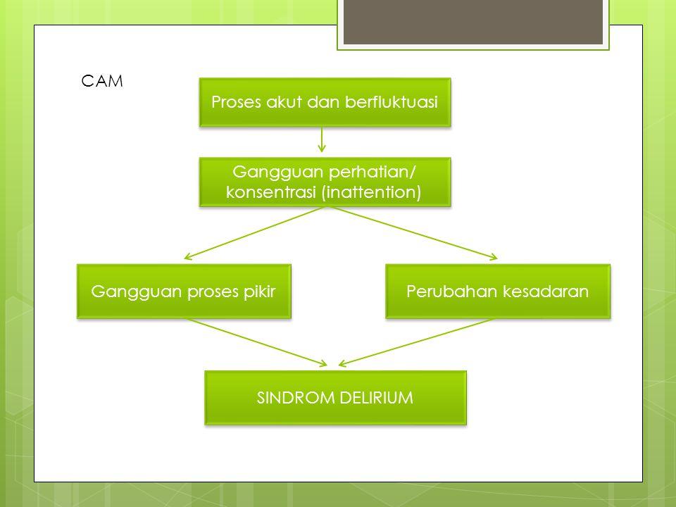 Proses akut dan berfluktuasi Gangguan perhatian/ konsentrasi (inattention) Gangguan proses pikir Perubahan kesadaran SINDROM DELIRIUM CAM