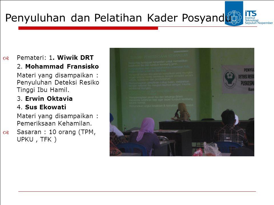 Penyuluhan dan Pelatihan Kader Posyandu  Pemateri: 1. Wiwik DRT 2. Mohammad Fransisko Materi yang disampaikan : Penyuluhan Deteksi Resiko Tinggi Ibu