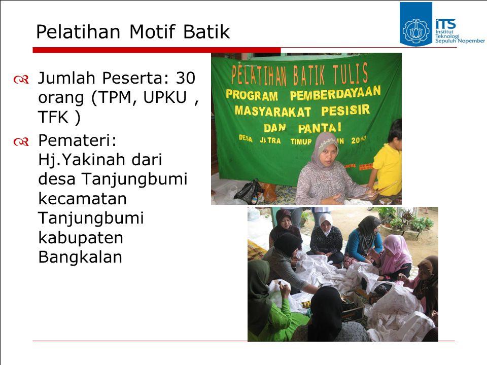 Pelatihan Motif Batik  Jumlah Peserta: 30 orang (TPM, UPKU, TFK )  Pemateri: Hj.Yakinah dari desa Tanjungbumi kecamatan Tanjungbumi kabupaten Bangka