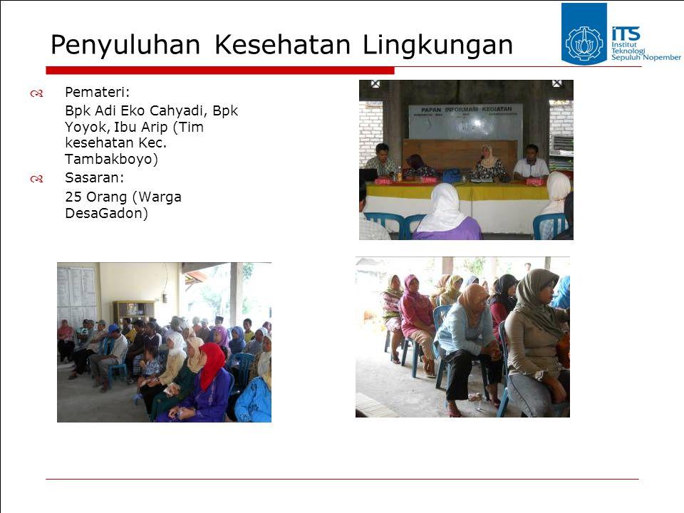 Penyuluhan Kesehatan Lingkungan  Pemateri: Bpk Adi Eko Cahyadi, Bpk Yoyok, Ibu Arip (Tim kesehatan Kec. Tambakboyo)  Sasaran: 25 Orang (Warga DesaGa