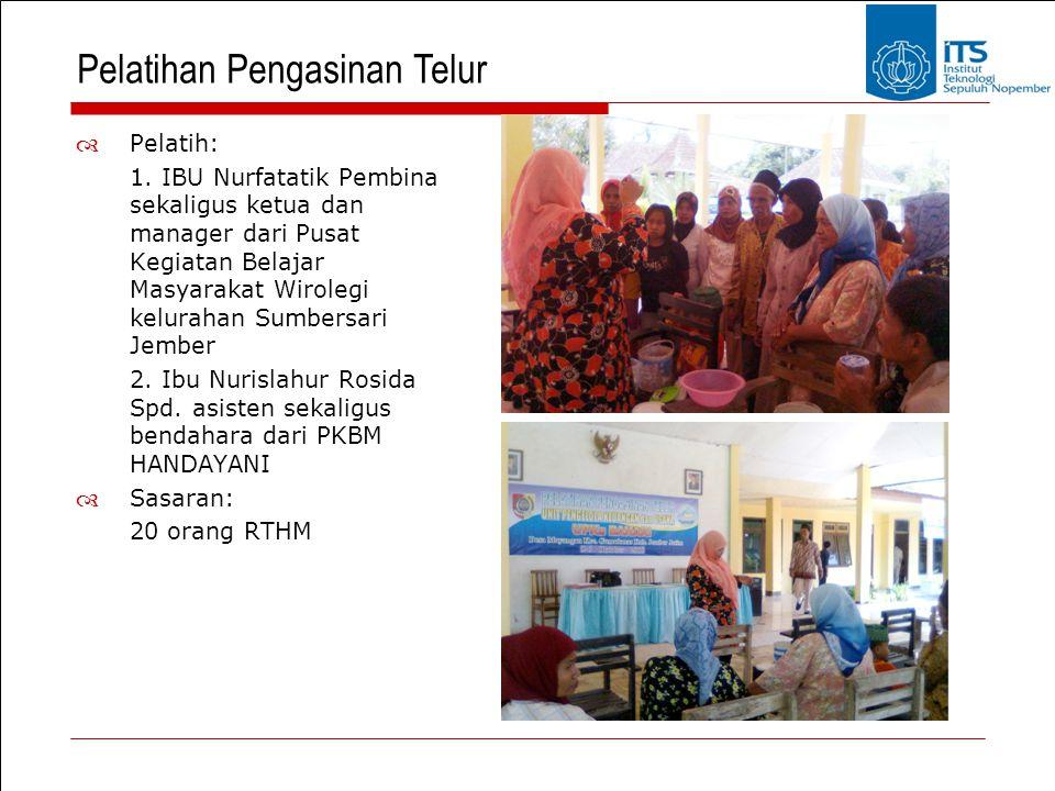 Pelatihan Pengasinan Telur  Pelatih: 1. IBU Nurfatatik Pembina sekaligus ketua dan manager dari Pusat Kegiatan Belajar Masyarakat Wirolegi kelurahan