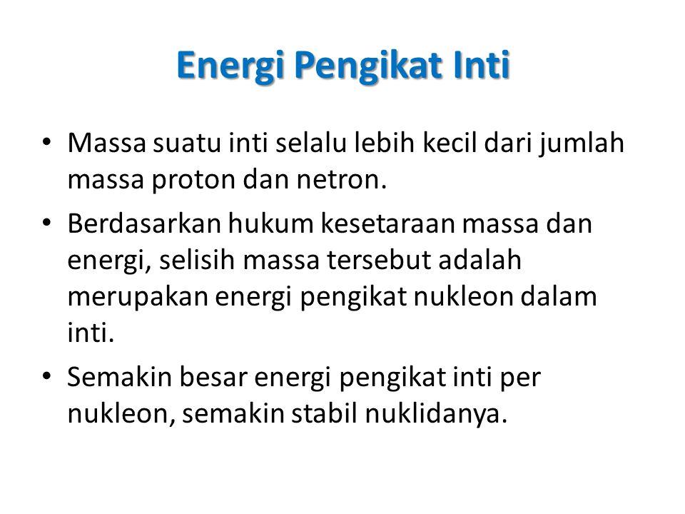 Energi Pengikat Inti Massa suatu inti selalu lebih kecil dari jumlah massa proton dan netron. Berdasarkan hukum kesetaraan massa dan energi, selisih m