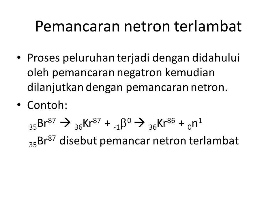 Pemancaran netron terlambat Proses peluruhan terjadi dengan didahului oleh pemancaran negatron kemudian dilanjutkan dengan pemancaran netron. Contoh: