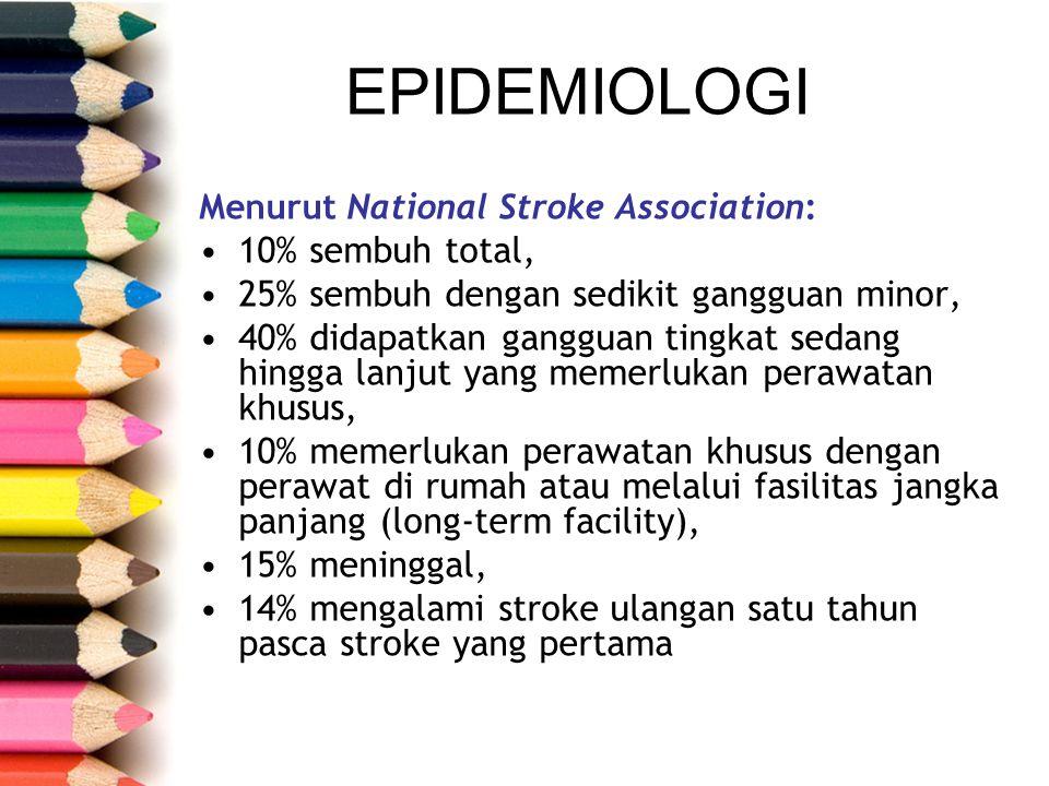 EPIDEMIOLOGI Menurut National Stroke Association: 10% sembuh total, 25% sembuh dengan sedikit gangguan minor, 40% didapatkan gangguan tingkat sedang h
