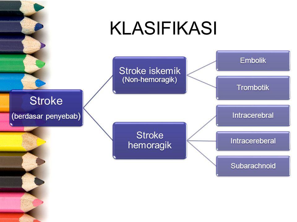 KLASIFIKASI Stroke ( berdasar penyebab ) Stroke iskemik (Non-hemoragik) Embolik Trombotik Stroke hemoragik Intracerebral Intracereberal Subarachnoid