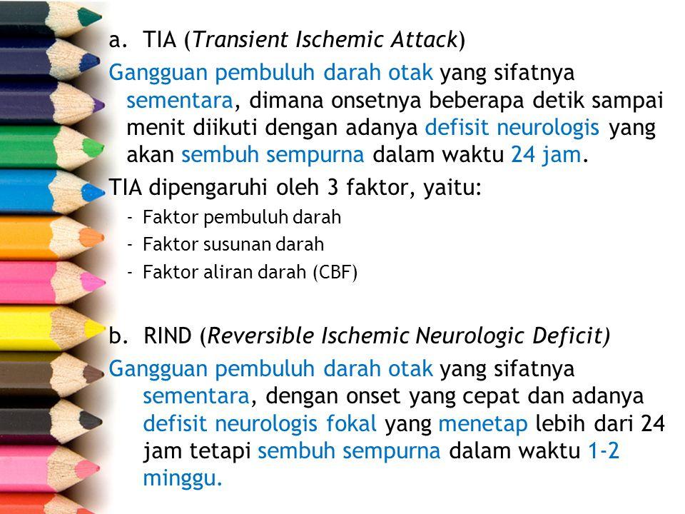 a.TIA (Transient Ischemic Attack) Gangguan pembuluh darah otak yang sifatnya sementara, dimana onsetnya beberapa detik sampai menit diikuti dengan ada