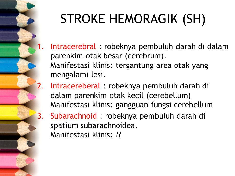 1.Intracerebral : robeknya pembuluh darah di dalam parenkim otak besar (cerebrum). Manifestasi klinis: tergantung area otak yang mengalami lesi. 2.Int