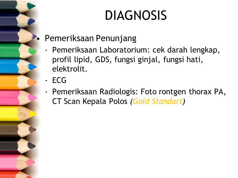 Pemeriksaan Penunjang -Pemeriksaan Laboratorium: cek darah lengkap, profil lipid, GDS, fungsi ginjal, fungsi hati, elektrolit. -ECG -Pemeriksaan Radio