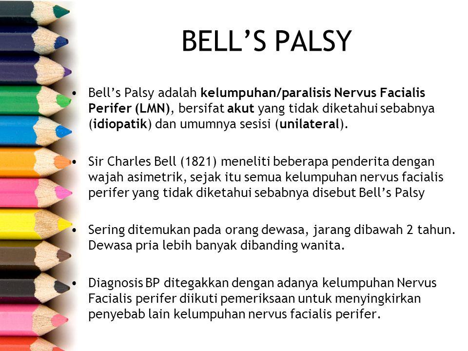 BELL'S PALSY Bell's Palsy adalah kelumpuhan/paralisis Nervus Facialis Perifer (LMN), bersifat akut yang tidak diketahui sebabnya (idiopatik) dan umumn